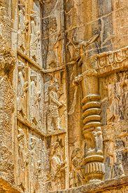stock photo of zoroastrianism  - Royal tomb detail on the corner - JPG