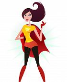 Brown hair Super woman in red costume (superhero)