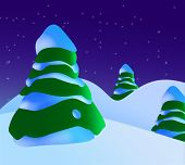 A Snowy Chrishtmas Scene With Christmas Trees And Stars