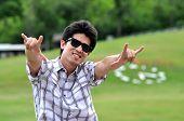 Asia Thailand Man Sunglasses Love Point