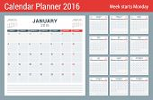 Постер, плакат: Calendar Planner For 2016 Year Vector Stationery Design Print Template Square Pages With Place For