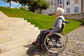 Handicapped Person Looking At Stairs