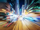 Abstract urban background of night city blurred by motion   poster