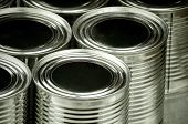 Постер, плакат: Close up of tin cans for food