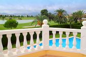 Golf Course From Pool Housel White Balustrade