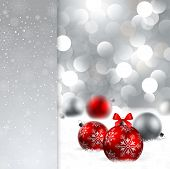 christmas background with baubles and place for text