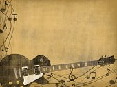 image of recording studio  - electric guitar and music notes on vintage background - JPG