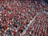 49ers Fans Cheer And Celebrate With Each Other A Successful Play