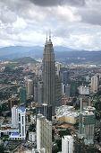 picture of petronas twin towers  - aerial view of the landscape around the petronas twin towers in kuala lumpur malaysia - JPG