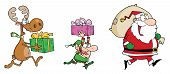 Happy's Santa Claus,Elf and Reindeer Runs With Gifts