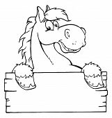 Contorneado caballo de dibujos animados con un cartel en blanco