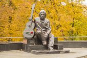 ������, ������: monument Vladimir Vysotsky sitting with a guitar