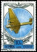 Vintage  Postage Stamp.  Old Plane Tb-3 .