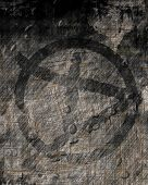 stock photo of anarchists  - Grunge wall with anarchist graffiti symbol on it - JPG