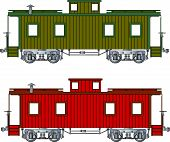 foto of caboose  - Railraod train caboose red or green end of train - JPG