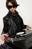 Female Dj At The Turntables