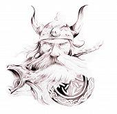 Постер, плакат: Искусство татуировки эскиз Викинг