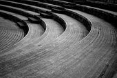 A Closeup Showing An Abstract View Of Curving Amphitheatre Seats