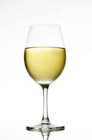 picture of wine-glass  - white wine in a wine glass with white background - JPG