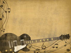 stock photo of recording studio  - electric guitar and music notes on vintage background - JPG