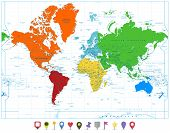 World Map With Colorful Continents And Flat Map Pointers Isolated On White poster