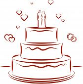 Wedding cake. Vector illustration
