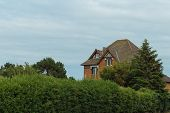 Country Houses With Sea View In The Region Of Normandy, France On A Cloudy Day. Beautiful Countrysid poster