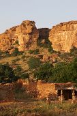 stock photo of dogon  - A view of Dogon tribe village Songo in Mali - JPG