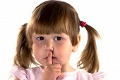 Little Girl Making Sign Of Silence
