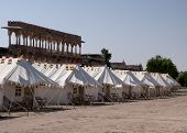 Lined up tents at the camp of Nagaur's palace in Rajasthan.