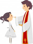 Illustration of a Girl Participating in the Holy Communion