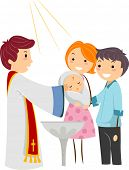 Illustration of a Priest Baptizing a Child