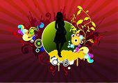 ector illustration - abstract figure of a girl on a colored background