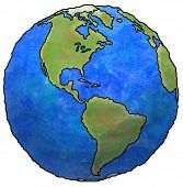 picture of planet earth  - Globe of planet earth showing continents and oceans - JPG
