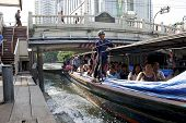 Express Boat On Khlong Saen Saeb Arriving At Pratunam Pier, Bangkok Thailand