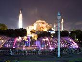 Hagia Sophia Mosque Museum Fountain Night Scene Istanbul Turkey