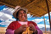Peruvian woman with big hat, Peru poster