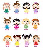 A set of cute little baby ballerina mascots. EPS10 vector format.