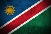 Weathered Flag Of Namibia, fabric textured