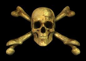 stock photo of skull crossbones  - 3D render of a grungy skull and crossbones - JPG