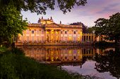 Royal Palace On The Water In Lazienki Park, During The Sunset, Warsaw, Palace On The Water In The Ro poster