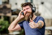 Music Beat For Energetic Mood. Rhythm For Walk. Excellent Music Playlist. Man Bearded Hipster Headph poster