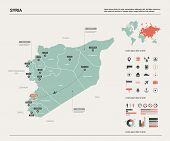 Vector Map Of Syria. Country Map With Division, Cities And Capital Damascus. Political Map,  World M poster