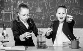 Be Careful Performing Chemical Reaction. Basic Knowledge Of Chemistry. Girls Study Chemistry. Make S poster