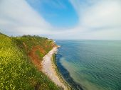 Cliffs On The Black Sea Coas. Landscape Of Cliffs And Beach In Vama Veche, Romania. Nature And Trave poster