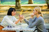 Friendship Meeting. Girls Friends Drink Coffee Talk. Conversation Of Two Women Cafe Terrace. Friends poster