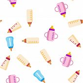 Baby Bottle, Childcare Equipment Vector Linear Icons Seamless Pattern. Baby Bottles With Latex, Sili poster