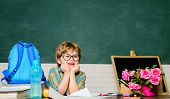 Back To School. Tired Boy In Glasses. Homework. Lessons. School Subjects. Science. Education Concept poster