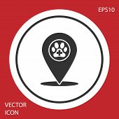 Grey Map Pointer With Veterinary Medicine Hospital, Clinic Or Pet Shop For Animals Icon Isolated On  poster