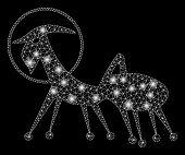 Bright Mesh Creature Skafandr With Lightspot Effect. Abstract Illuminated Model Of Creature Skafandr poster
